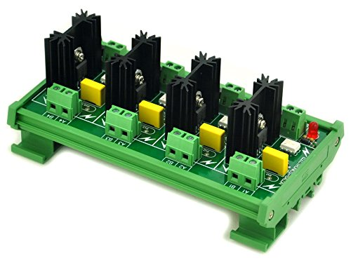 ELECTRONICS-SALON DIN Rail Mount 4 Channel 6 Amp SSR Module Board, in 4~32VDC, out 100~240VAC.