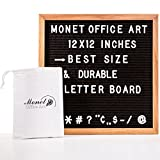 "mini fridge wood cover - Black Felt Changeable Letter Board 12""x12"" By Monet Office Art: Letterboard With Solid Oak Wood Frame & Mount Hook – Comes With 300 White Plastic Letters, Numbers & Punctuation Marks"
