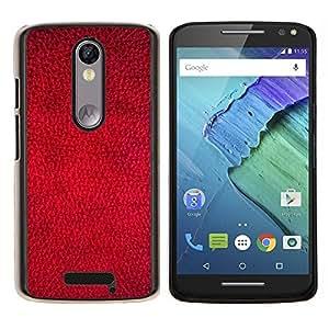 EJOOY---Cubierta de la caja de protección para la piel dura ** Motorola Moto X3 3rd Generation ** --Rojo del papel pintado Diseño Textura Arte Textil