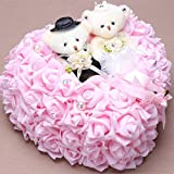 bgblgf M Bride Bear Ring Pillow Rose Love Ring Pillow 2525 cm, Pink, 2525cm