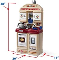 Amazon Com Step2 Cozy Kitchen Small Play Kitchen For Toddlers Kids Kitchen Playset For Ages 2 Brown Toys Games