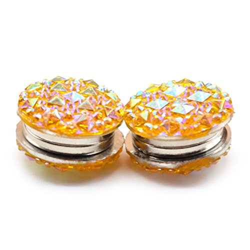 (ink2055 1 Pair Round Rhinestone Magnetic Women's Brooch Clasp Scarf Abaya Muslim Pin - Yellow)