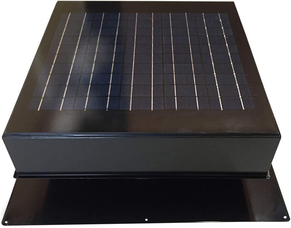 Remington Solar Attic Fan, Solar 20 Watt Solar-Powered, Roof Mounted with Bonus Thermostat and Humidistat Pre-Installed, Quiet Brushless 24V DC Motor Easy Installation Exhaust Fan, in Black