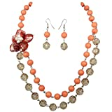 Coral Orange 2 Strand Layered Shell Flower Beaded Necklace Earrings Set