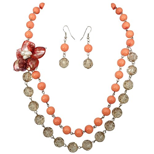 (Coral Orange 2 Strand Layered Shell Flower Beaded Necklace Earrings Set)