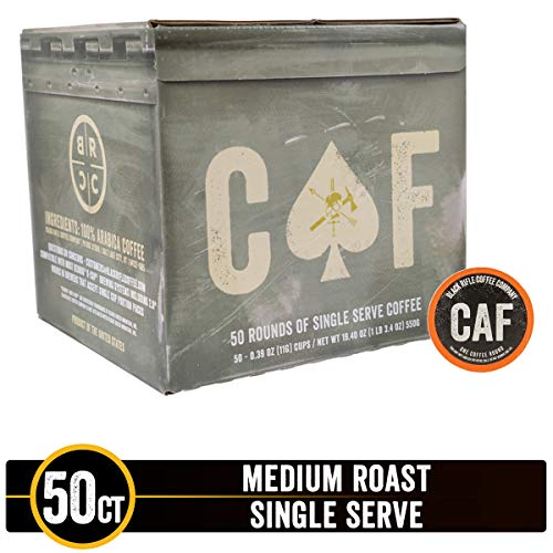 CAF Caffeinated As [Redacted] Medium Roast Single Serve Coffee Rounds by Black Rifle Coffee Company | 50 Count Coffee Pods | Compatible with Keurig K Cup Brewers | Coffee Lovers Gift