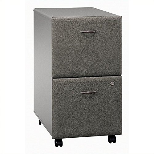 Pewter Filing File Cabinet (Bush Furniture Series A 2 Drawer Vertical Mobile Wood File Cabinet in White Spectrum and Pewter)