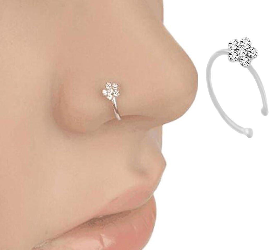 Crasy tienda moda mujer Crystal Rhinestone Flores nariz anillo fino nasal aro anillos cuerpo piercing joyas accesorios para fiesta Club baile boda -10mm plata