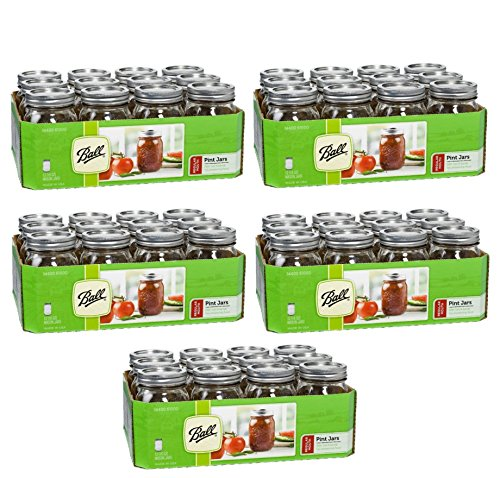 Ball Regular Mouth Pint Jars 12 Count 16 OZ (Pack of 5) Made in USA Brand New and Fast Shipping ()