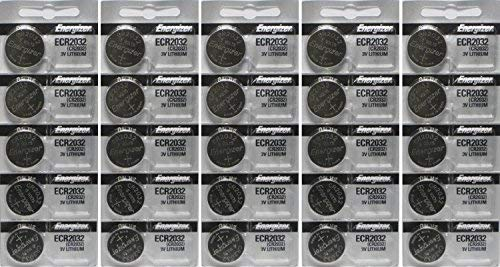 25 Energizer 2032 Battery CR2032 Lithium 3v (5 Packs of 5) from Energizer