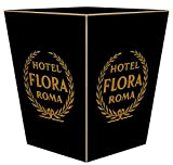 WB2820- Hotel Flora Roma Italy Vintage Wastepaper Basket