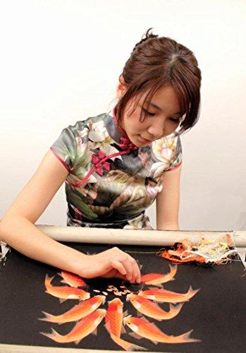 King Silk Art 100 Handmade Embroidery Framed Two Japanese