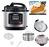 GoWISE USA 10-QT 12-in-1 Electric Pressure Cooker with Measuring Cup, Stainless Steel Rack and 2 Steam Baskets, and Spoon, Stainless Steel