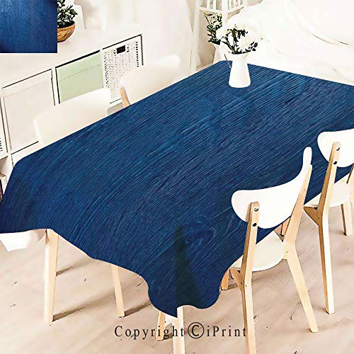 Durable Rectangle Tablecloth Print Table Cover for Home and Party Decoration,Photo of Oak Wood Texture Nature,Indoor Outdoor Party Picnic Easy Care Washable Table Cloth,W55 xL55,Royal Blue -