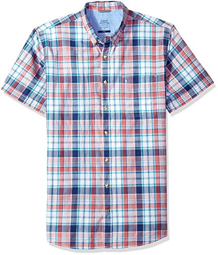 IZOD Men's Size Big Saltwater Chambray Plaid Short Sleeve Shirt, Rapture Rose, 2X-Large Tall Slim (Clothing Tall Slim)