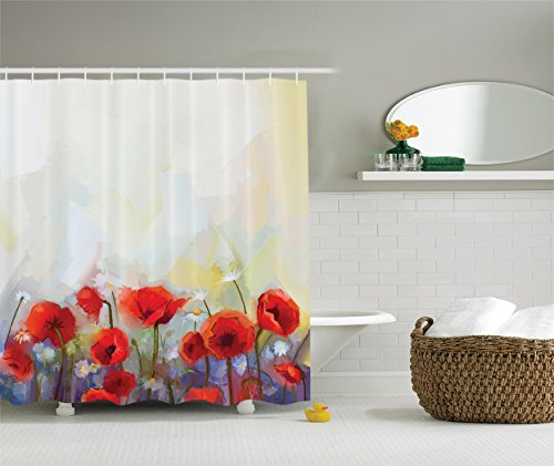 Ambesonne Watercolor Flower Decor Collection, Poppies Blosso