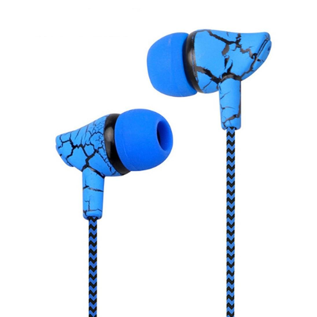SUKEQ In Ear Earphones, 3.5mm Wired Stereo Crack Headphones Noise Isolating Sport Earbuds Headvy Duty Headset with Mic For MP3 MP4 (blue)