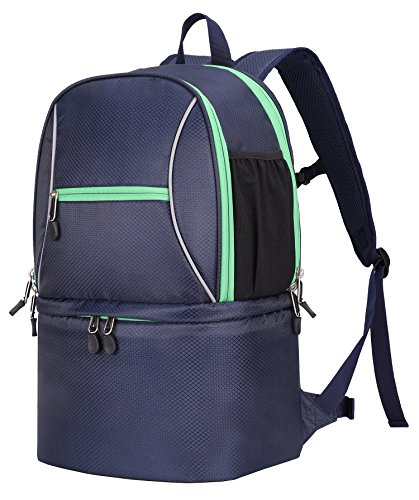 MIER Large Insulated Lunch Backpack with Cooler Compartment for Men and Women to Hiking, Camping, Beach, Park, Picnic, Travel, 2 Deck, Blue