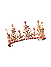 SODIAL(R) 1 Gold + Red alloy artificial pearl bride crown bride hair ornament size: high 7.5cm