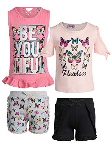 Real Love Girl\'s 4-Piece French Terry Short Sets (Butterflies, 14/16)' (Size 16 Girl Clothes)