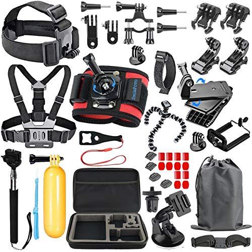 SmilePowo GoPro Accessory Kit for GoPro Hero 6,5 Black,Hero 2018,Hero Session,Hero 7 Black/Silver/White,GoPro Fusion,Hero 4,3,SJCAN,AKASO,APEMAN,DBPOWER,Campark Action Camera Accessory Kit