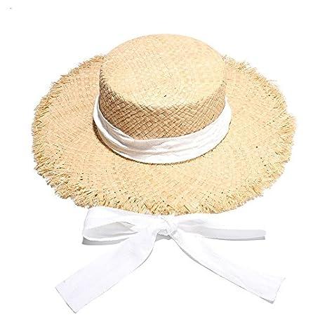 cc2da475d46 Amazon.com   ALWLj Brand Women S Sun Hats Raffia Straw Summer Hat New Flat  Top Wide Brim Cap Ladies White Ribbon Beach Caps   Sports   Outdoors