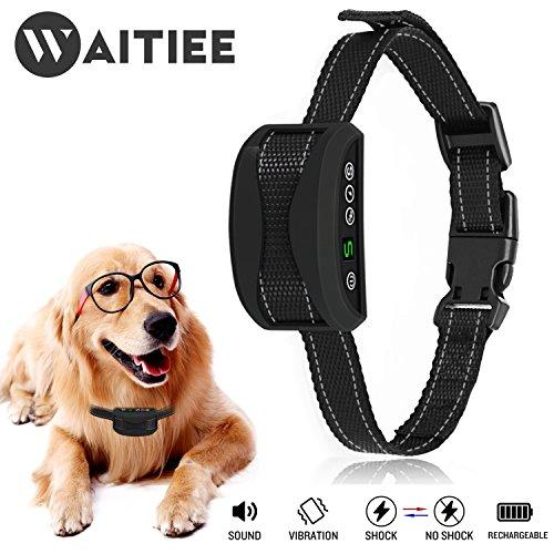 Bark Control Safety Collar - No Brak Dog Collar, Waitiee Dog Barking Collar Rechargeable Rainproof Bark Control Collar With Beep / Vibration / No Harm Shock Anti Bark Collar For Dogs Small Medium Large