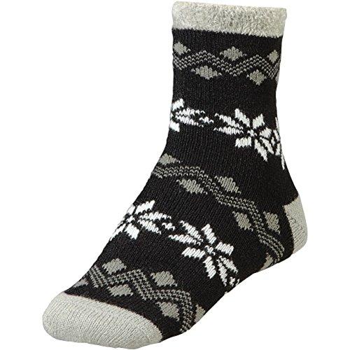 Yaktrax yaktrax women 39 s cozy cabin socks black grey cream for Warm cabin socks