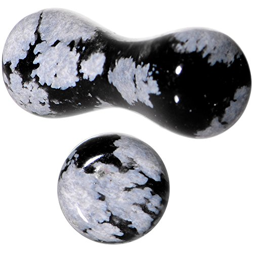 Body Candy Obsidian Snowflake Natural Stone Saddle Plug Set of 2 8 Gauge - Obsidian Natural Stone Tunnel