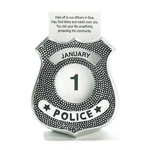 Police Officer Shield Shape Silver Finish 4 x 6 Resin Table Top Figurine and Perpetual Calendar