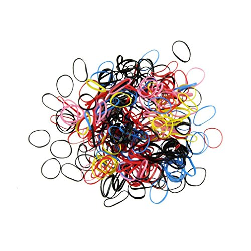 Tenworld 500pcs/set Rubber Hairband Rope Ponytail Holder Ela