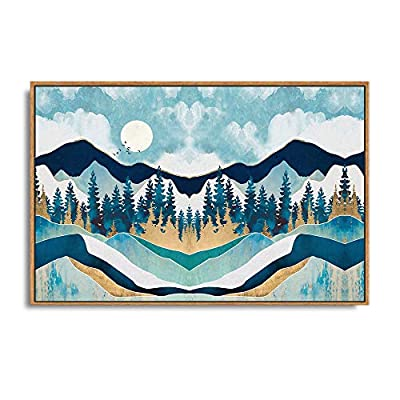 Amazing Technique, Framed Home Artwork Abstract Mountain Nature Scenery for Living Room Bedroom, Quality Artwork