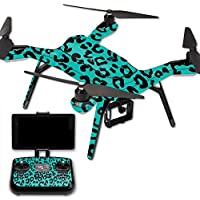 MightySkins Protective Vinyl Skin Decal for 3DR Solo Drone Quadcopter wrap cover sticker skins Teal Leopard