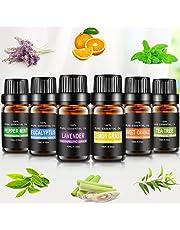 joylink zestaw olejków eterycznych, 6 x 10 ml, aromaterapia, olejek zapachowy, 100% czyste, olejki eteryczne, zestaw upominkowy, do aromaterapii, olejek terapeutyczny, nadaje się do dyfuzorów/lamp zapachowych/odświeżaczy powietrza