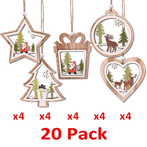 (PartyBus 3D Wooden Christmas Ornaments 20 Pack, Unfinished Wood Cutouts for Holiday Card Decoration, Xmas Gift Tags for Kids Art & Craft DIY, Burlap String Pre-Tied Slices Rustic Coaster Décor)