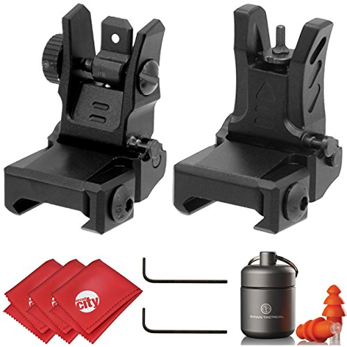 UTG Dual Aiming Aperture Low Profile Flip-up Front + Rear Sight Kit with Ear Plugs (MNT-755 & MNT-955)