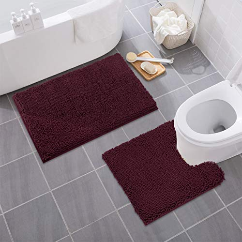 MAYSHINE Bathroom Rug Toilet Sets and Shaggy Non Slip Machine Washable Soft Microfiber Bath Contour Mat (Burgundy, 32×20 / 20×20 Inches U-Shaped)