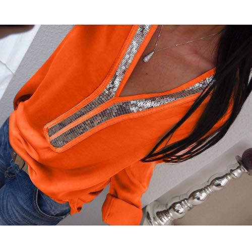 Blouse Femme Femmes VJGOAL Casual Col Manches Sexy Shirt Paillettes Veste V Longues Tops Mode en Femme Casual T 6qqZdx