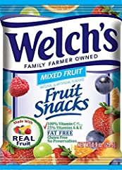 Welchs Fruit Snacks are THE made with real fruit fruit snacks the entire family will love. Featuring fruit as the 1st ingredient and made with 100% daily value of Vitamin C and 25% Vitamins A and E. Share the Goodness with Welchs Fruit Snacks!
