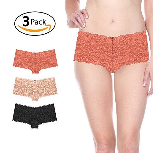 Prima Valentina 3-Pack Full Lace Cheeky Boy Shorts Panties 8M40020 (M, ()
