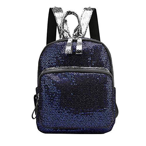 AIEason Reversible Glitter Sequin Backpacks for Women, Adjustable Straps Travel Backpack Blue