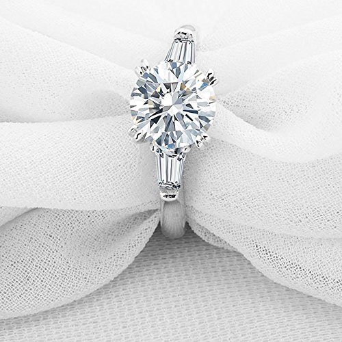 espere Sterling Silver 2 Carat CZ Baguette Round Solitaire Engagement Ring Bridal Wedding Jewelry by espere (Image #4)