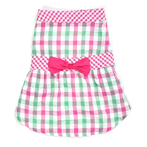 Pink Check Plaid Dress, Pink, M
