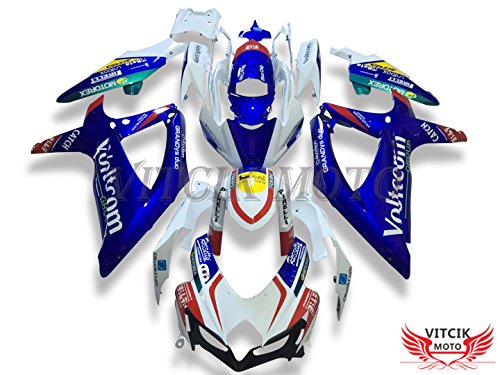 VITCIK (Fairing Kits Fit for Suzuki GSX-R750 GSX-R600 K8 2008 2009 2010 GSXR 600 750) Plastic ABS Injection Mold Complete Motorcycle Body Aftermarket Bodywork Frame (Blue & White) A115 (Gsxr600 Fairings Suzuki)