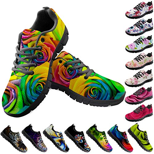 w Rose Printed Running Shoes for Women Ladies Jogging Sports Sneakers Floral Design Size 11 B(M) Women-EUR 41 ()