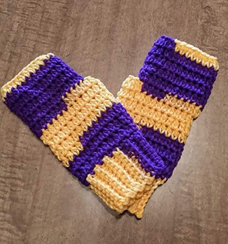 - Hand Crocheted Fingerless Texting Gloves, Arthritis Fibromyalgia Hand Warmers, purple and gold (Minnesota, Baltimore, Washington, Huskies, Northern Iowa, Mankato, Minnesota State)
