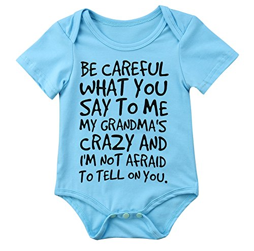 Baby Boy Girl be Careful What You Say to me My Grandmas Crazy Bodysuit (70 (0-6M), Blue) ()