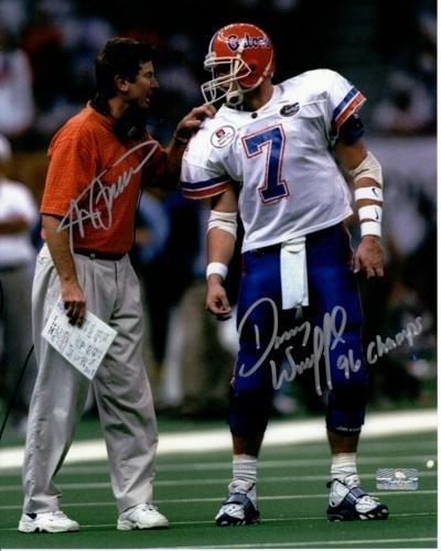 Steve Spurrier and Danny Wuerffel Autographed Florida Gators (1996 Sugar Bowl) 8x10 (Steve Spurrier Autographed Gators)