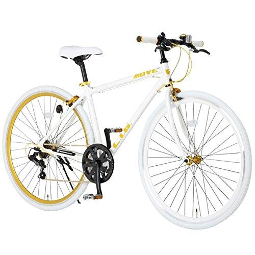 白を基調としたボディにゴールドの輝きが映える!高貴なイメージを印象付ける【ホワイト×ゴールド】カラーのクロスバイク B00QJUA46U