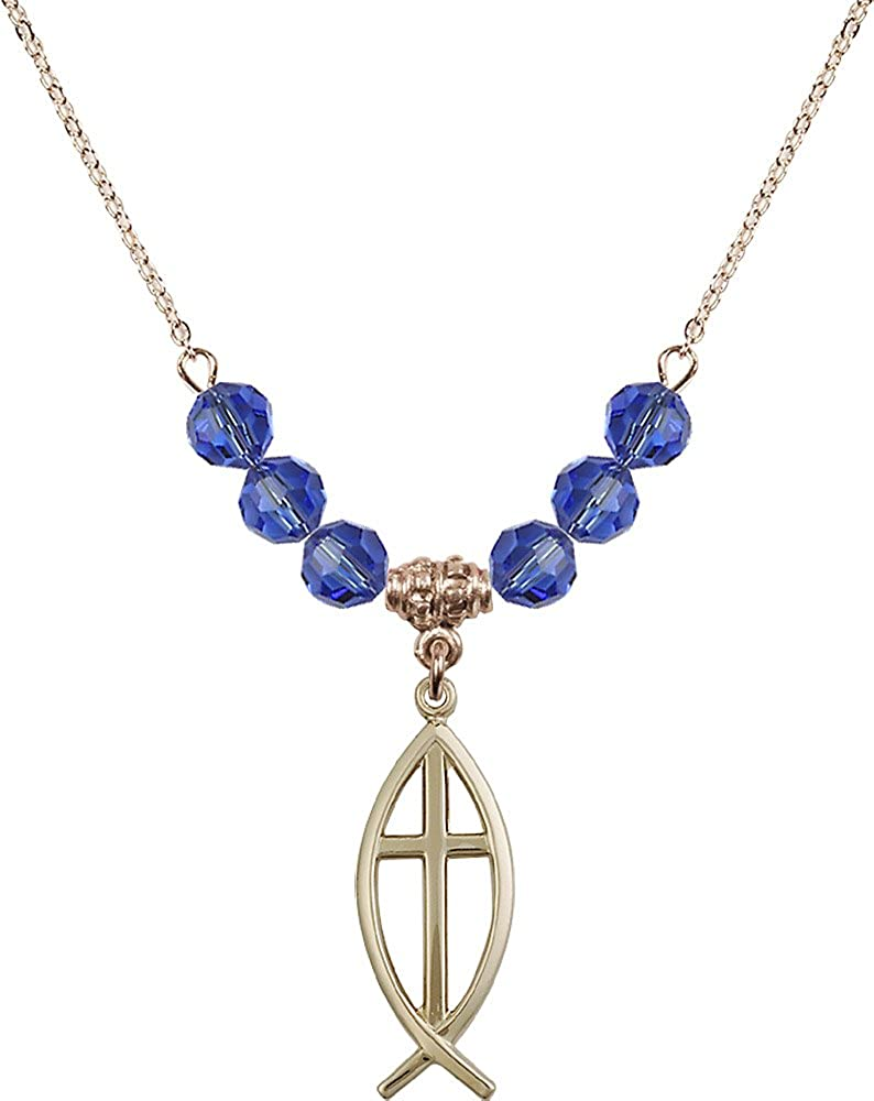 18-Inch Hamilton Gold Plated Necklace with 6mm Sapphire Birthstone Beads and Gold Filled Fish Cross Charm.